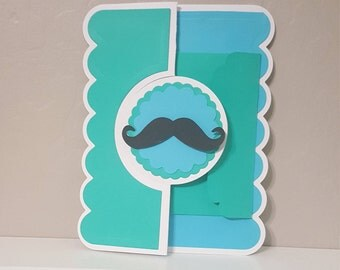 Mustache tri-fold card with gift card envelope