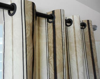 Pair of window curtains window panels stripes window curtains window drapes beige curtains custom curtains rod curtains