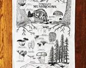 Foraged Mushrooms Tea Towel (Dish Towel)