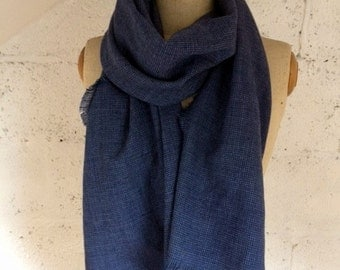 LIMITED EDITION - 100% Italian Linen Blue Herringbone Scarf