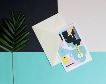 Pastel postcard - wall décor - personalised mail - geometric illustration - envelope