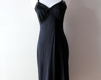 vintage sheer black lingerie dress / with satin lace, strappy lingerie dress