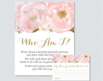 Pink Who Am I Bridal Shower Game - Printable Blush Pink and Gold Floral Bridal Shower Memory Game - Memory With the Bride Guessing Game 0007