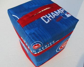 Chicago Cubs Championship MLB Kleenex Tissue Cover - Cubs Logo, Wrigley Field Champs, Cubbies Chicago 2016 Champs