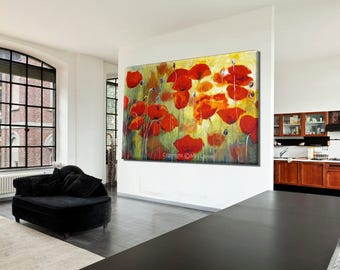 Abstract Flower Painting, Abstract Art Print, Flower Wall Art Celebration Of Life, Colorful Painting, Poppy Painting, Red Artwork Floral Art
