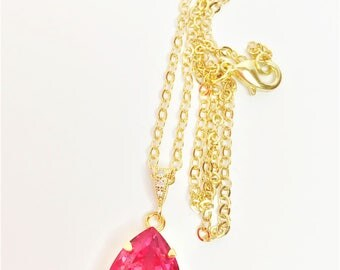 Pink Crystal Pendant Rose Pink Swarovski Gift Pink Sparkly Necklace Rose Bridal Pendant Rose Bridesmaid Gift Mother of the Bride Gift