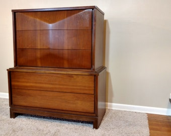 Mid Century Diamond Front Highboy