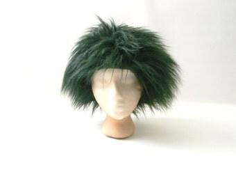 Dark Green Winter Wig Hat