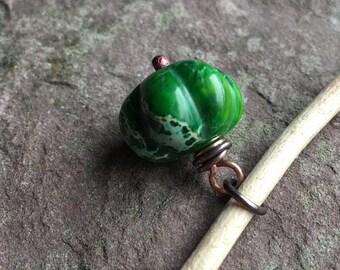 Green imperial Jasper, Jasper pendant, copper and Jasper, pumpkin shape stone