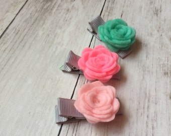 Flower Baby Hair Clips, Flower Toddler Hair Clips, Baby Barrettes, No-Slip Baby Barrettes, Flower Hair Clip, Newborn Hair Clips