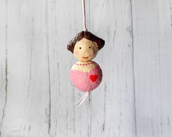 Cute Doll Pendant, Paper Sculpture Doll, Paper Bead Doll, Ooak Doll Necklace, Paper Mache Necklace, Art Doll Pendant, Paper Doll Charm
