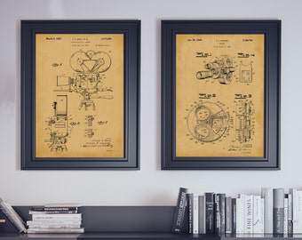 Film Maker Decor Entertainment Room Art Motion Picture Camera Patent Prints Golden Age of Hollywood Decoration Movie Director Set of 2 6204