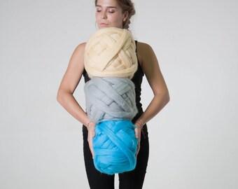 Arm Knitting Yarn, 100% Wool, Chunky yarn, 23 microns, Giant Yarn, Thick Yarn, Extreme Knitting DIY, Super Bulky Wool, Merino Wow, BABY PINK