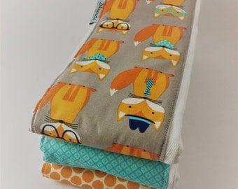 Funny Face Fox Burp Cloths - Set of 3 Coordinating Neutral Baby Burp Cloths