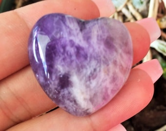 Amethyst Crystal Heart infused with Love and Reiki/ Healing Crystals and Stones