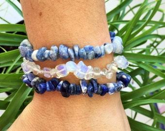 Chakra Bracelet Set, Throat Chakra Crystal Healing Bracelets w/ Reiki/ Healing Crystal Jewelry