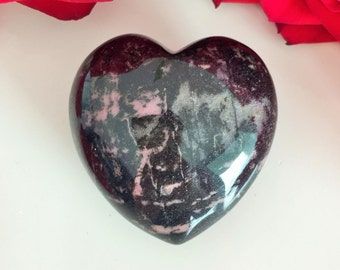 Rhodonite Crystal Heart Stone infused w/ Reiki, Perfect Mother's Day Gift Idea