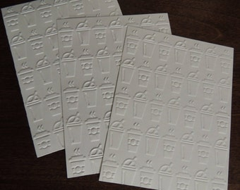 On The Go coffee,  Embossed Cardstock, Embossed Sheets, Embossed Card Fronts