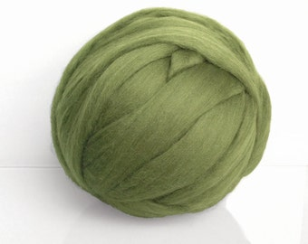 Wool roving for felting and spinning. Extrafine Merino Top 19 microns. Combed. Pickle green,  Olive green,