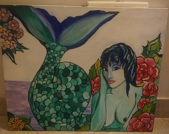 Original Canvas Painting by Giuliana - Mermaid