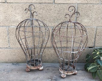 Wrought Iron Planters, Rusty Wrought Iron Garden Art, Succulent Baskets, Metal Garden Baskets, Cottage Garden, French Country Garden Art