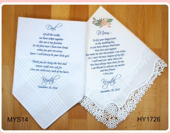 Mother of the Bride & Father of the Bride Handkerchiefs-Wedding Hankerchief-PRINTED-CUSTOMIZED-Handkerchief gifts for parents-parents gifts