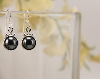Hematite sterling silver scrollwork dangling earrings [E42H]