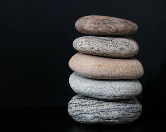 Spiritual Gift - Stacking Stone Cairn - Zen Balance - Stress Relief - Meditation Altar - Flat Pebbles