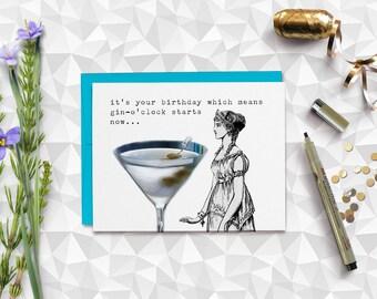 Funny birthday card, Gin birthday card, card for her, card for him, boyfriend, girlfriend, card for friend, gin o'clock, handmade card