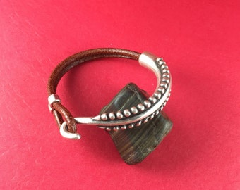 9/7 MADE IN EUROPE zamak half bracelet with separator, half cuff, hook clasp for leather cord (77858) Qty1