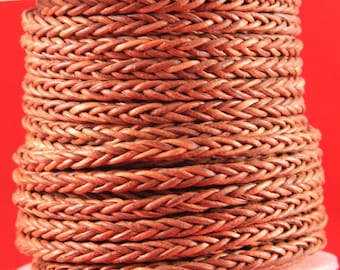 MADE in EUROPE braided leather cord, 4mm braided leather cord, square braided leather cord, 4mm braided cognac leather cord