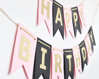 Black Blush Pink and Gold Birthday Banner, Birthday Party Decor, Photo Prop