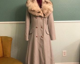 1960s/1970s/Holly Popplin/Princess Coat/Fox Fur/Medium