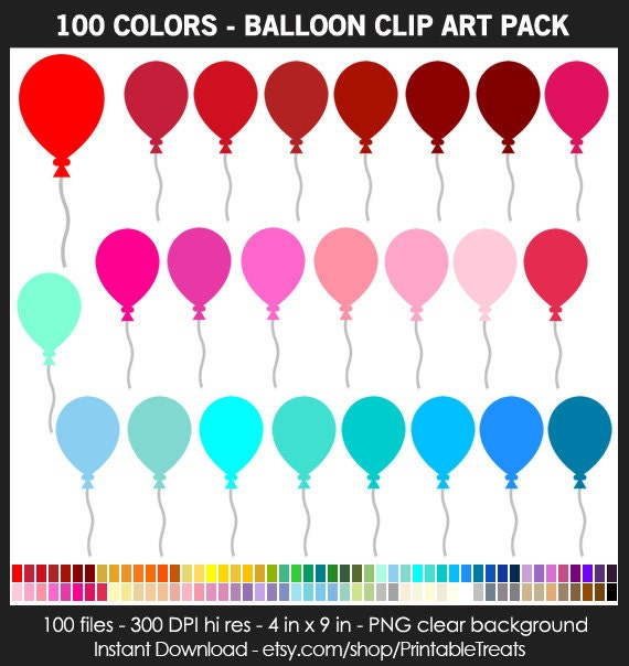 100 Colors Balloon Clipart Pack Commercial Use Birthday