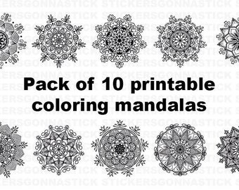 Printable Coloring Pages | Mandala Pack of 10 | #02 | Instant Download