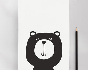 Monochrome Bear, Modern Nursery Kids Art Print