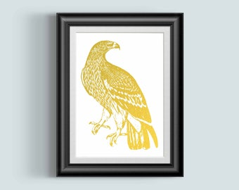 Gold Eagle Art Print, American Eagle, Eagle art, Bird, Bald Eagle, Gift for him, home decor, room decor, lodge decor