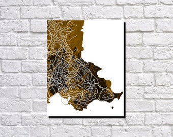 Torquay Street Map Print Neighborhood Map of Torquay Poster Wall Art Custom Maps 7177PNN