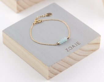 PANAMA bracelet, natural light Blue Agates and dainty 14k gold filled chain