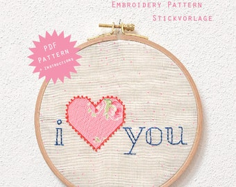 PDF Embroider Pattern - Flying Love Note