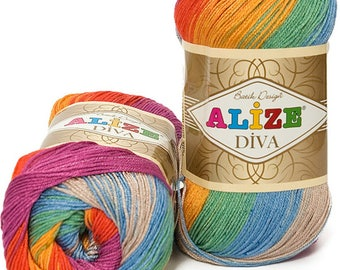 Multicolor yarn Alize Diva Batik, microfiber yarn, summer yarn