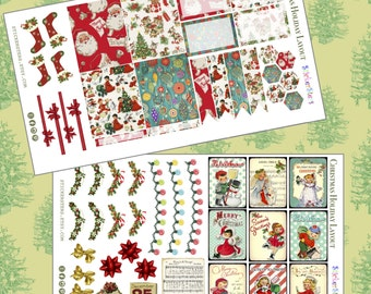 Christmas Holiday Part 1 Layout Planner Stickers Vintage Ephemera Style