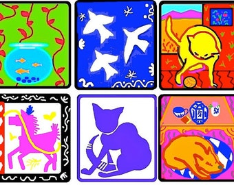 Art Stickers,Matisse Inspired Me, Dog,Cat,Horse,Fish,Bird,Colorful MacBook Decal,Laptop Stickers,Laptop Decal,Planner Stickers