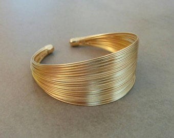 Gold Bracelet, Gold Cuff Bracelet, Cuff Bracelet, Gold Bangle, Wedding Jewellery, Simple Gold Cuff, Strand Bracelet, Bridesmaid Gift
