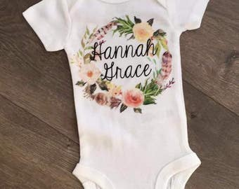 Personalized floral wreath bodysuit