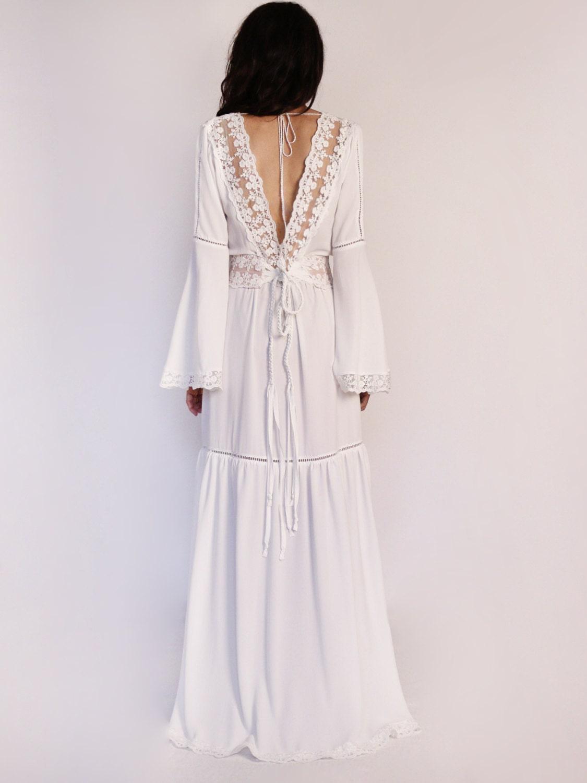 Rustic Wedding Dress Bell Sleeves Boho Wedding Dress By