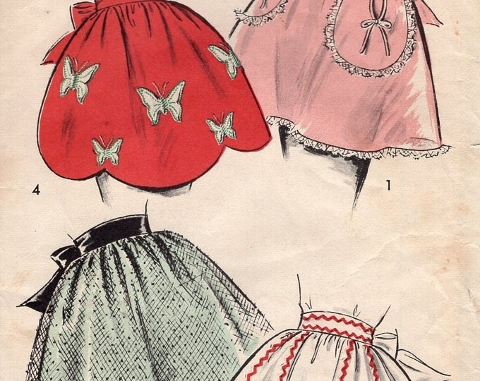 Advance 8839 Vintage Retro 1950s 50s Apron Sewing Pattern 4 looks Partially cut