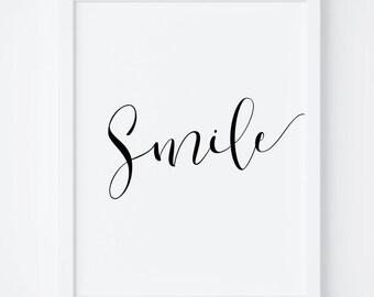 "Printable Art ""Smile"" Digital Print, Smile Print, Typography Print, Smile Poster, Wall Art, Nursery Art, Black and White Print"