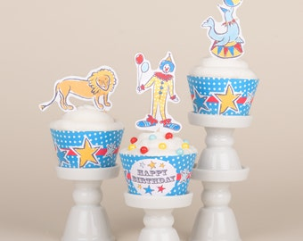 Cupcake Decorations / Circus Whimsy (Blue)