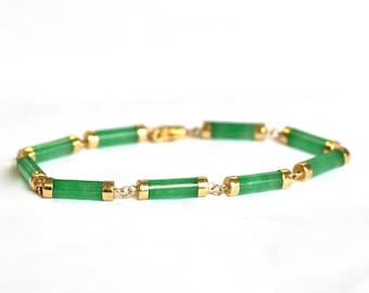 Jade Bracelet in 14k Yellow Gold
